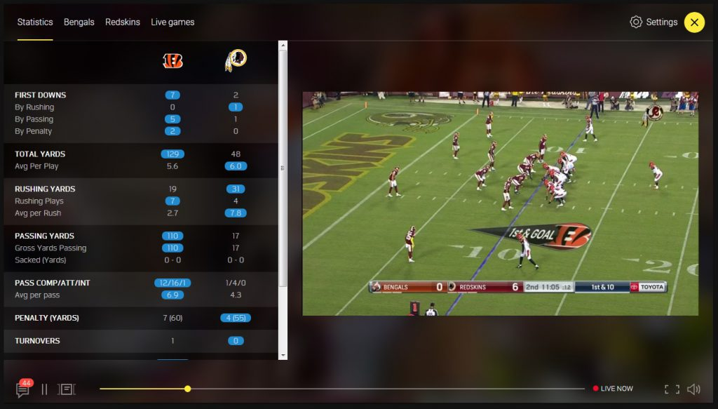 NFL Game Pass - Statistik live