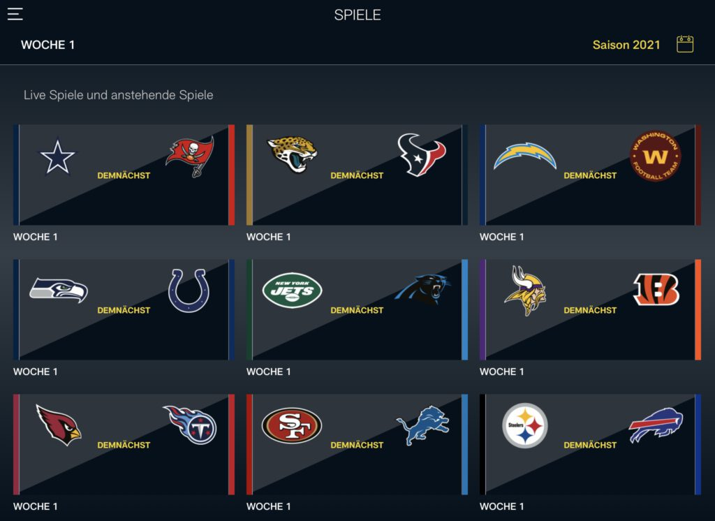 NFL Game Pass - Spiele
